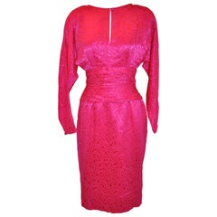 Flora Kung Fuchsia Multi-Tier Train & Bow Silk Cocktail Evening Dress