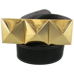 Men's GIUSEPPE ZANOTTI Size 36 Black Patent Leather Gold Stud Buckle Belt