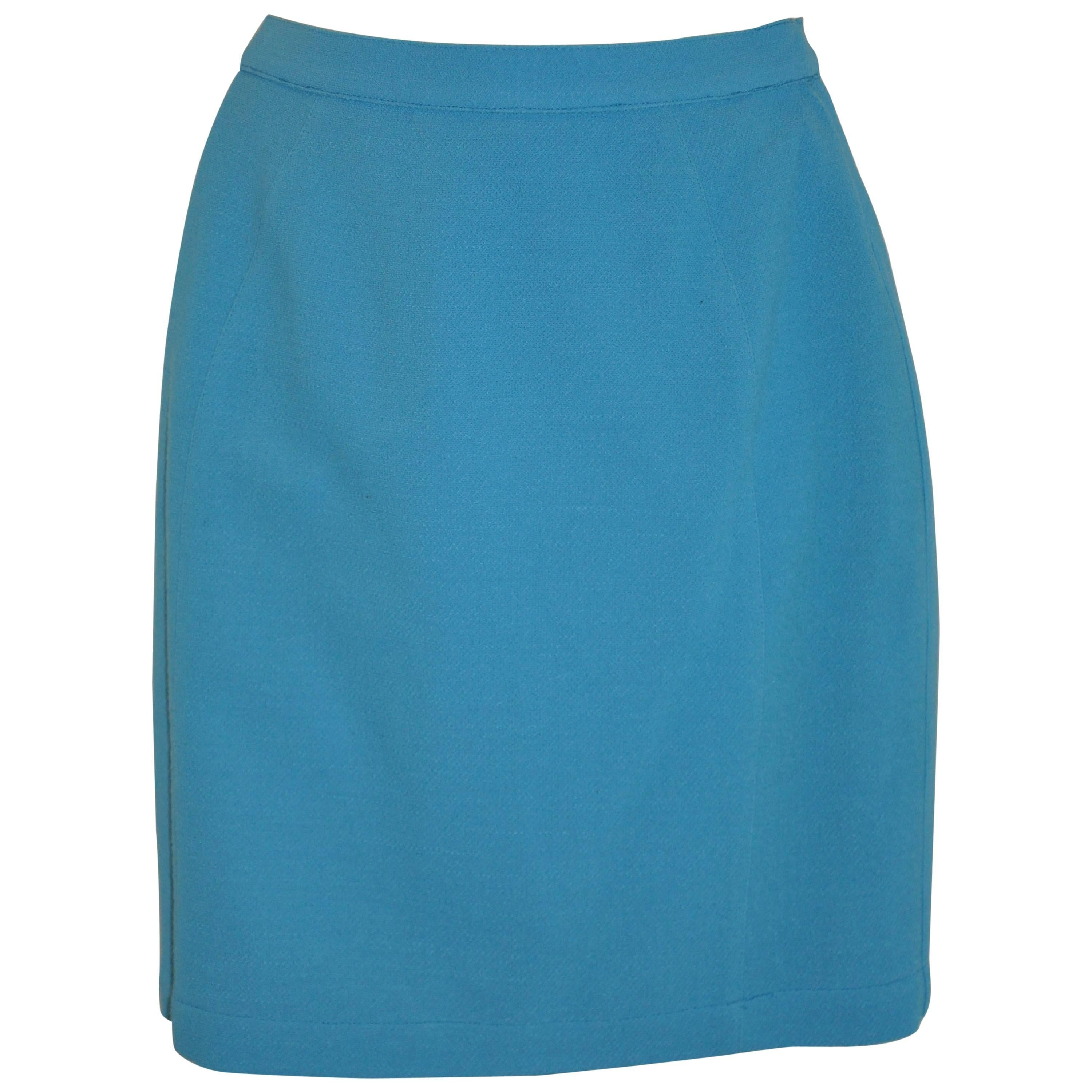 Thierry Mugler Turquoise Form-Fitting Wool Crepe Fully Lined Skirt