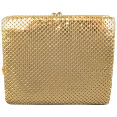 Vintage LIVINGSTON Bros. Gold Metal Chainmail Mesh Coin Purse Wallet