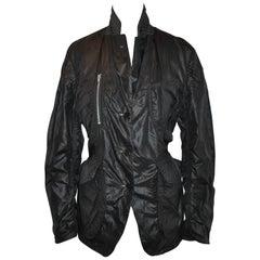 Comme des Garcons Reversible Black Nylon/Midnight Blue Pinstripe Linen Jacket