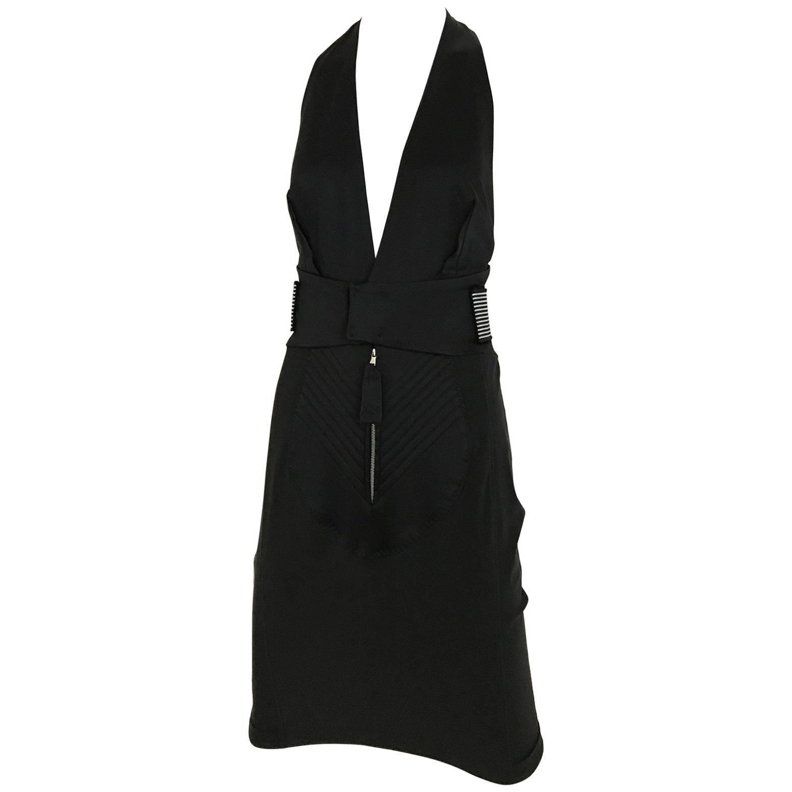 Vintage JEAN PAUL GAULTIER Black V Neck Fitted Dress