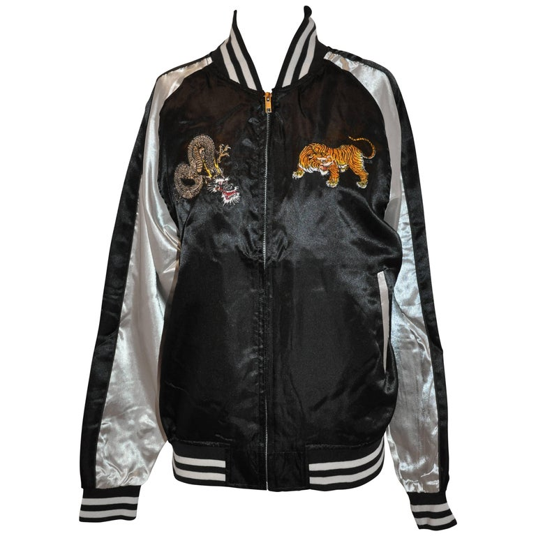 Japanese Ivory & Black Satin Fully Lined Hand-Embroidered Bomber Jacket For Sale