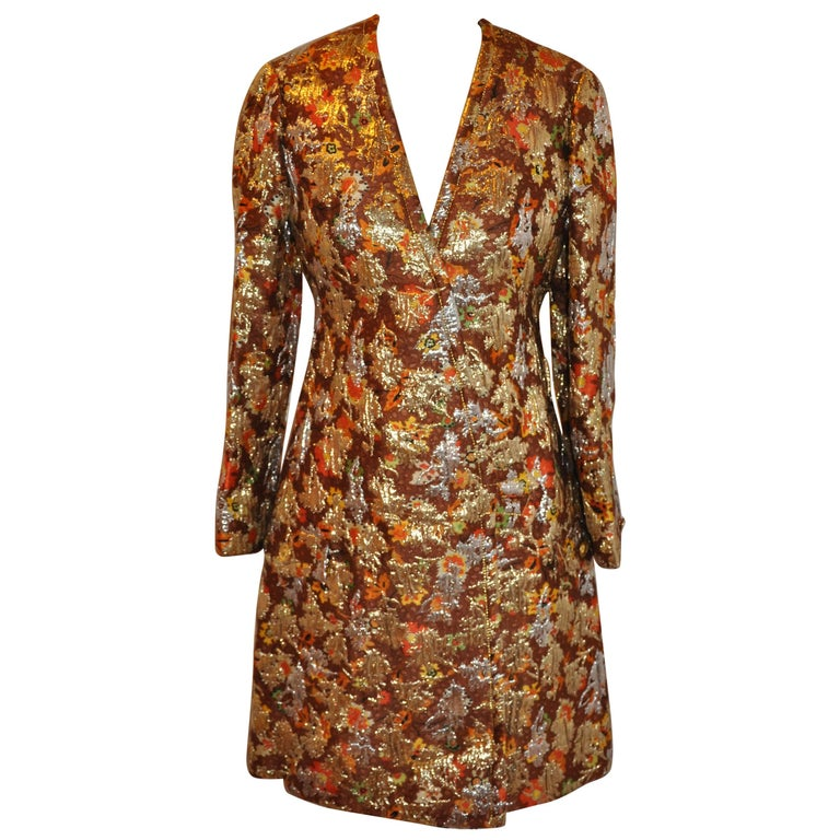 Galanos Multi-Color with Metallic Gold Lame Multi-Floral Brocade Evening Coat