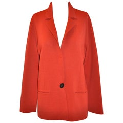 Mila Schon by Gabriella Frattini Italian Red Wool Snap Front Knit Jacket