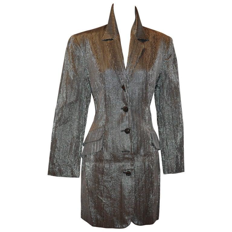 Harriet Selling Black Silk & Silver Lame Stripe Blazer-Style Evening Dress