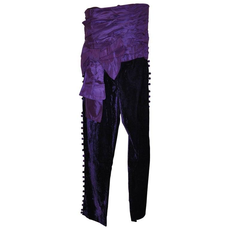 Rare Jiki (Monte Carlo) Deep Violet Taffata & Crushed Velvet Strapless Jumpsuit