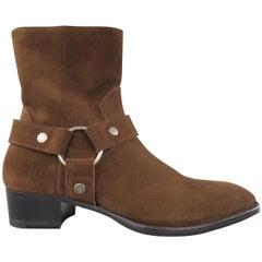 Men's SAINT LAURENT Size 7.5 Brown Suede Ankle Harness WYATT Boots