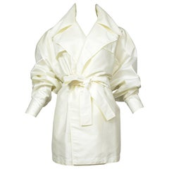 Alaia Pale Ivory Buttonless Mini Trench Coat
