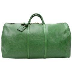 Vintage Louis Vuitton Keepall 60 Green Epi Leather Duffle Travel Bag