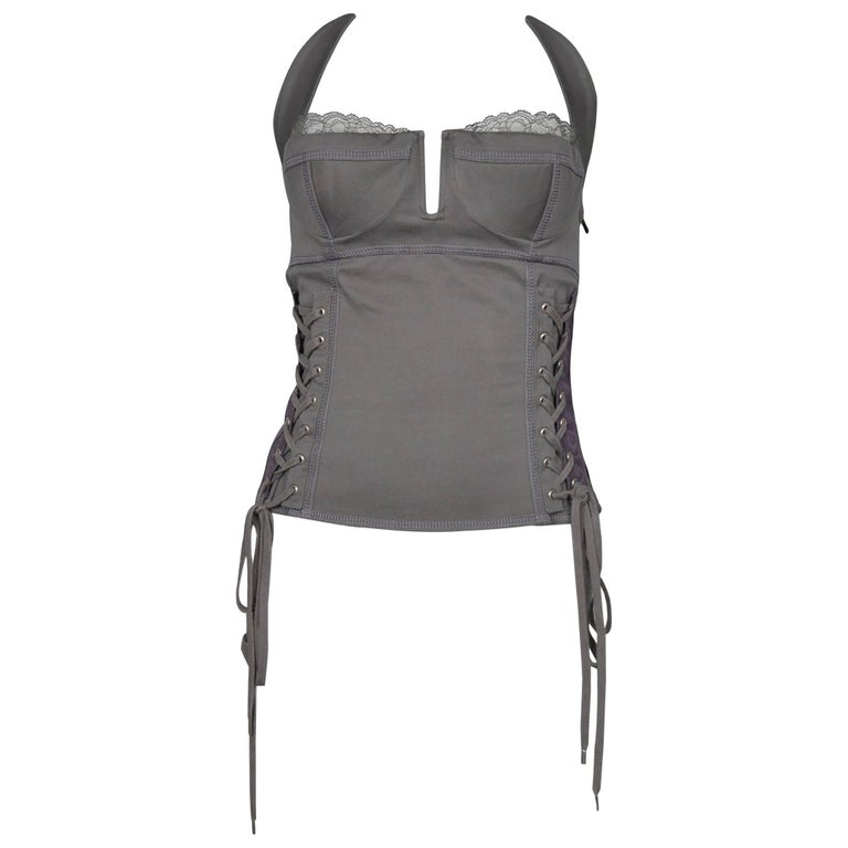 Dior By John Galliano Grey Corset Bustier Top 2004