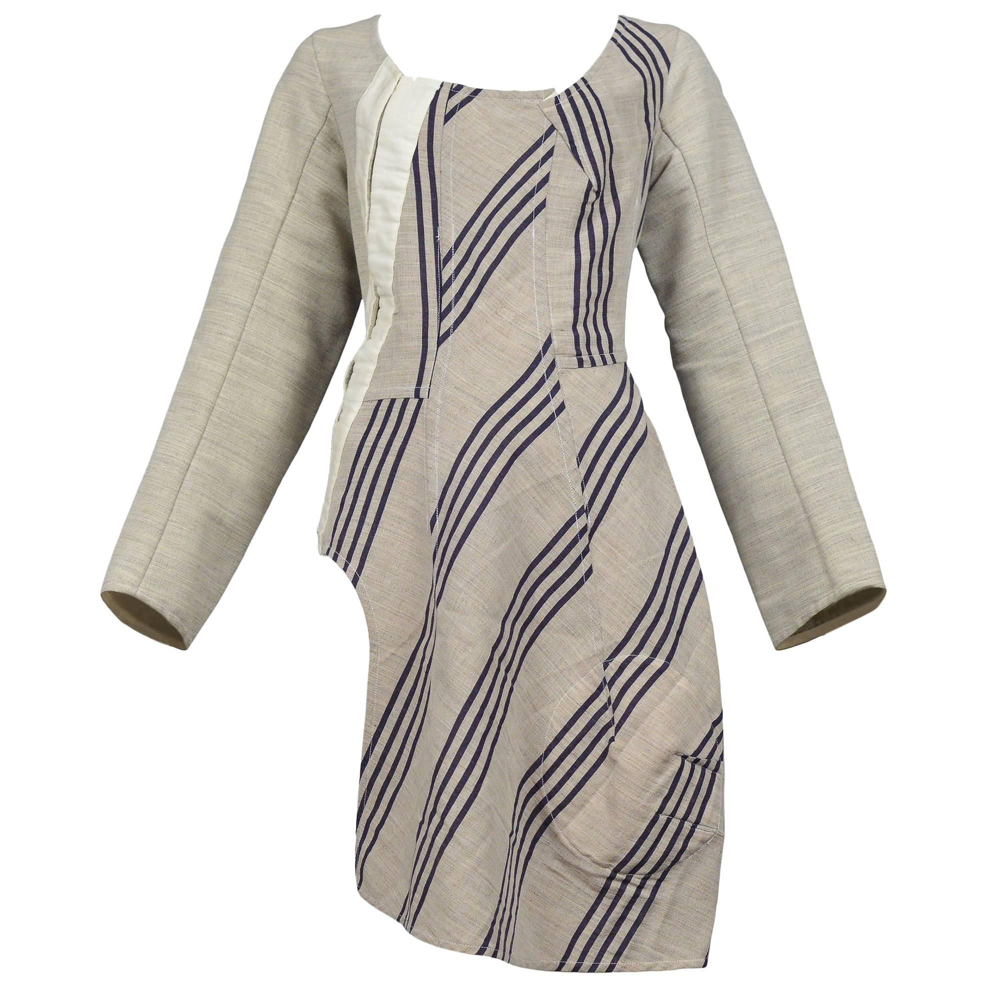 Comme des Garcons Deconstructed Corset Tunic Top With Stripe Panels 1998