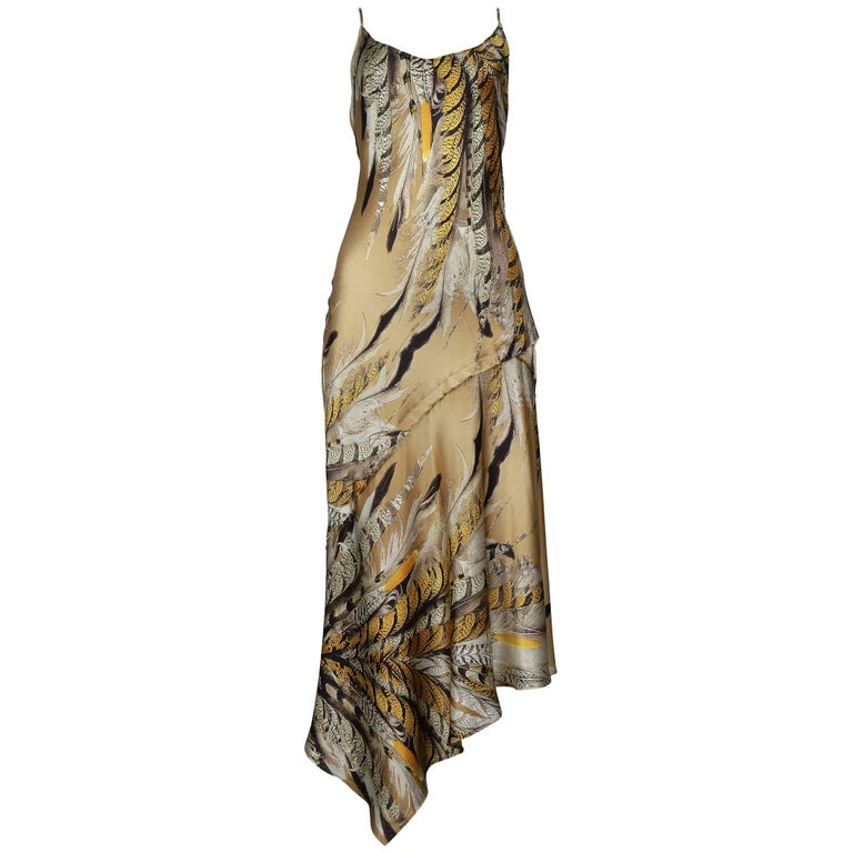 Roberto Cavalli Satin Feather Slip Dress With Open Cowl Back & Asymmetrical Hem
