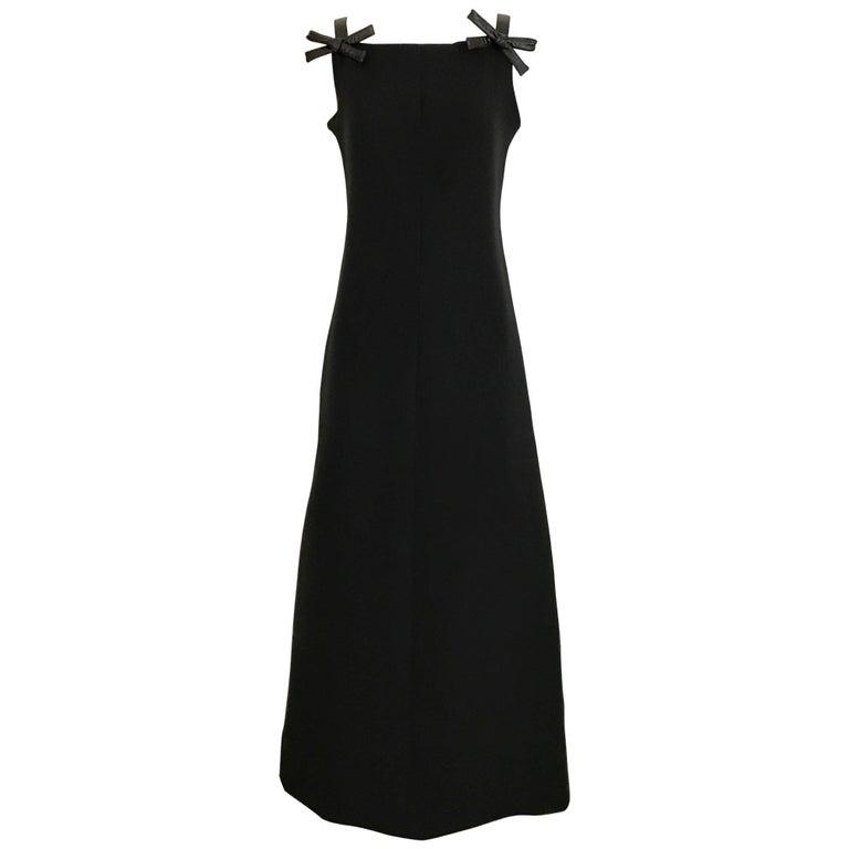 Vintage 1960s Courreges Black Maxi Dress with Bows
