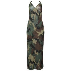 """Dior By John Galliano Camouflage Mesh Halter Gown with """"D"""" Hardware 2001"""
