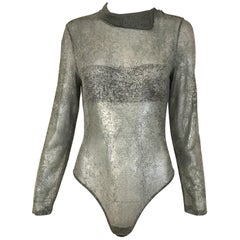 Vintage GIANFRANCO FERRE Silver Grey Metallic Bodysuit
