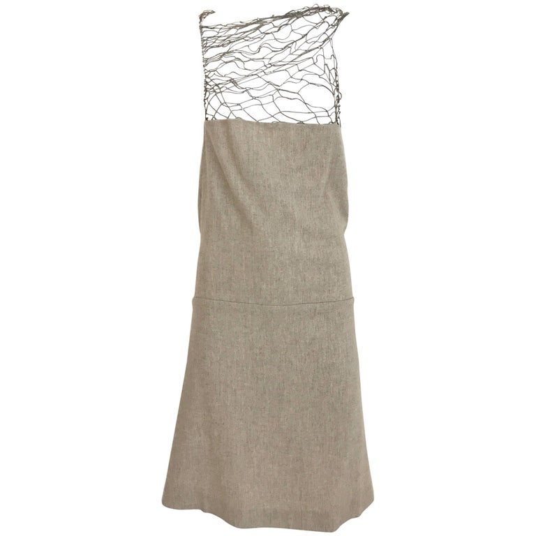 Narciso Rodriguez Grey Cashmere Lattice Cut Out Dress For Sale