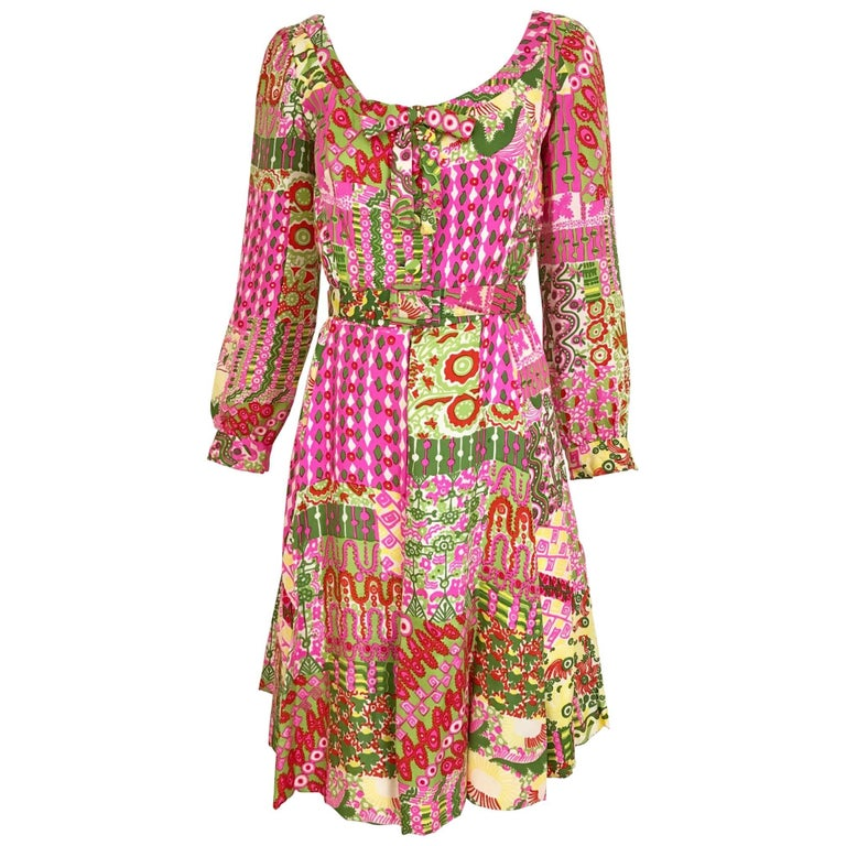 Vintage 1960s Pink and Green Vibrant Psychedelic Print Silk 60s Dress
