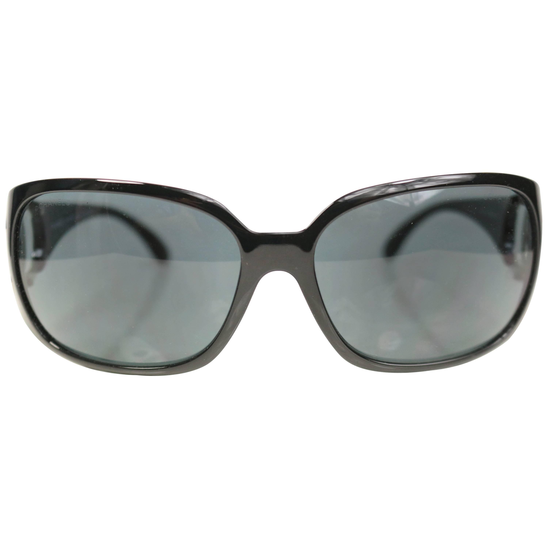 "Chanel Black Frame ""CC"" Logo Sunglasses"