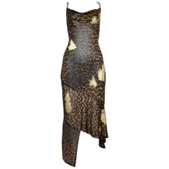 """Dior by Galliano Leopard Metallic Knit Dress w Lace Applique & """"CD"""" Charms 2000"""