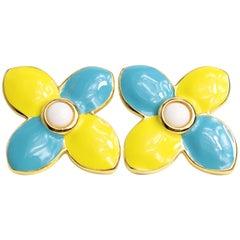 Escada Yellow and Light Blue Clovers Gemstones Clip On Earrings