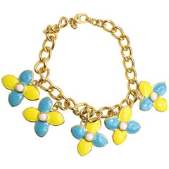 Escada Yellow and Light Blue Clovers Gemstones Gold Chain Necklace