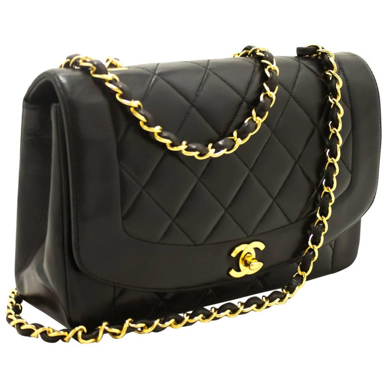 CHANEL Chain Shoulder Bag Crossbody Black Quilted Single Flap Lamb For Sale