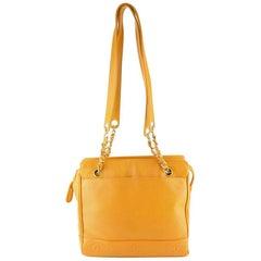 Chanel Orange Caviar Leather Tote Bag