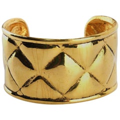 Chanel Gold Toned Plate Quilted Wild Cuff Bangle