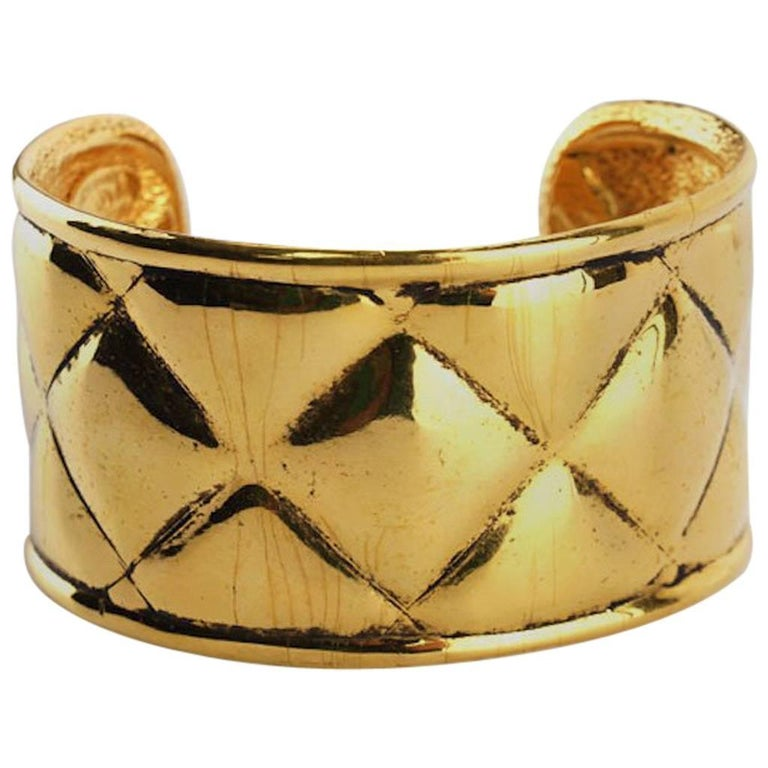 Chanel Gold Toned Plate Quilted Wild Cuff Bangle  For Sale