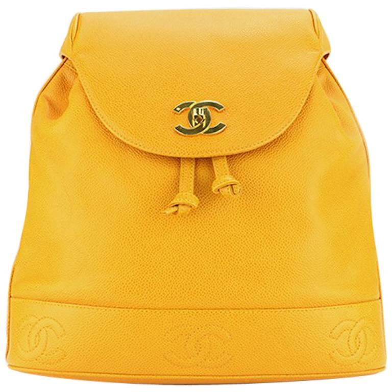 Chanel Orange Caviar Leather Backpack  For Sale