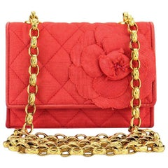 Chanel Red Silk and Satin Quilted with Camellia Gold Chain Shoulder Bag