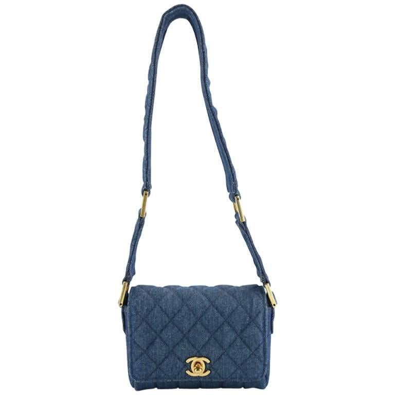 Chanel Blue Denim Quilted Mini Flap Shoulder Bag