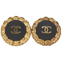 "Chanel Gold Chain ""CC"" Studs Clip On Earrings"