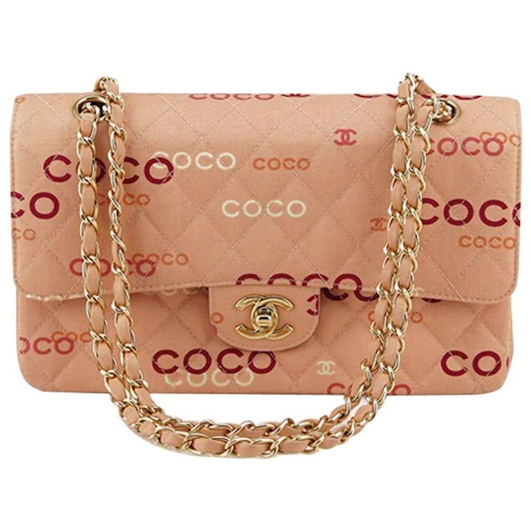 "Chanel Pink ""Coco"" Canvas Double Flap Shoulder Bag 1"