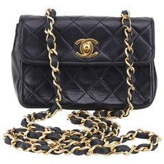 Chanel Black Quilted Lambskin Mini Flap Shoulder Bag