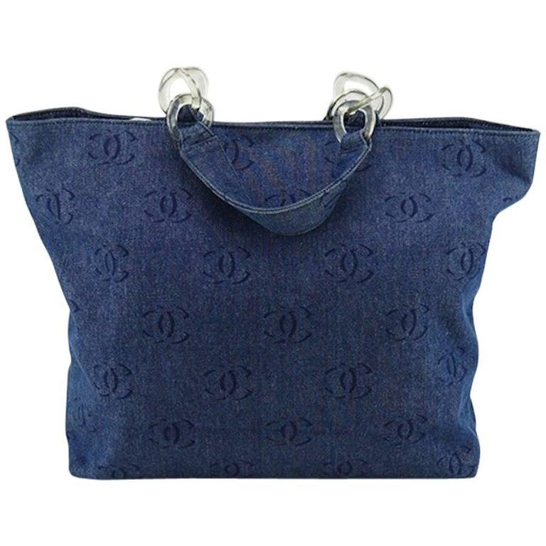 "Chanel Blue Denim ""CC"" Printed Pattern Tote Bag"