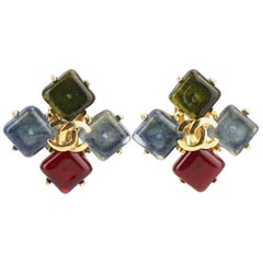 "Chanel Gold Plated Square Multi Colour Gripoix with ""CC"" Clip On Earrings"