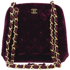 Chanel Burgundy Velvet Kiss Lock Shoulder Bag
