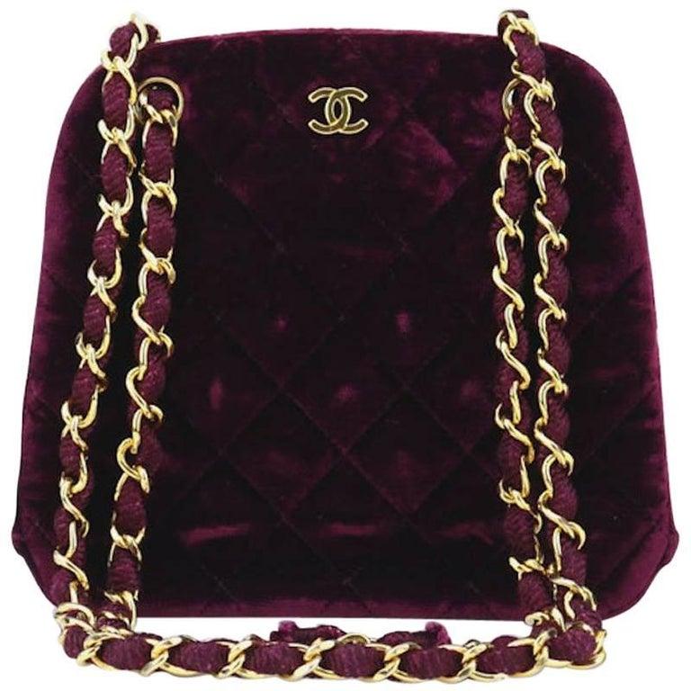 Chanel Burgundy Velvet Kiss Lock Shoulder Bag For