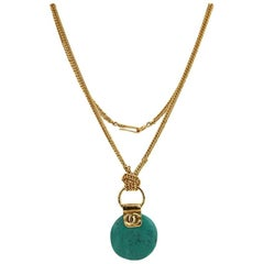 Chanel Turquoise Stone Pendant Gold Toned Chain Necklace