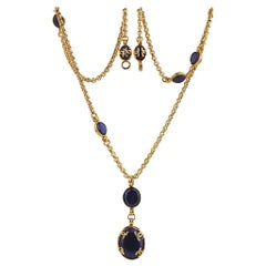 "Chanel Gold Plated Blue Oval Gripoix ""CC"" Pendant Long Necklace"