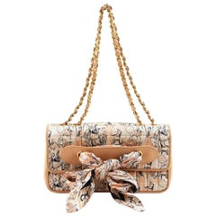 Chanel Peach Lambskin with Printed Illustration Silk Scarf Shoulder Bag