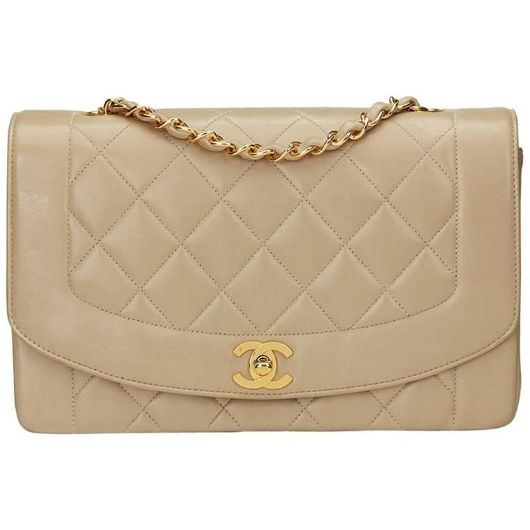 c152dd96018ab4 1990s Chanel Beige Quilted Lambskin Vintage Medium Diana Classic Single Flap  Bag For Sale