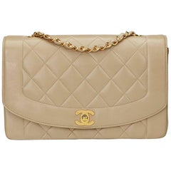 1990s Chanel Beige Quilted Lambskin Vintage Medium Diana Classic Single Flap Bag