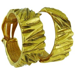 Yves Saint Laurent YSL Vintage Ribbed Gold Tone Hoop Earrings