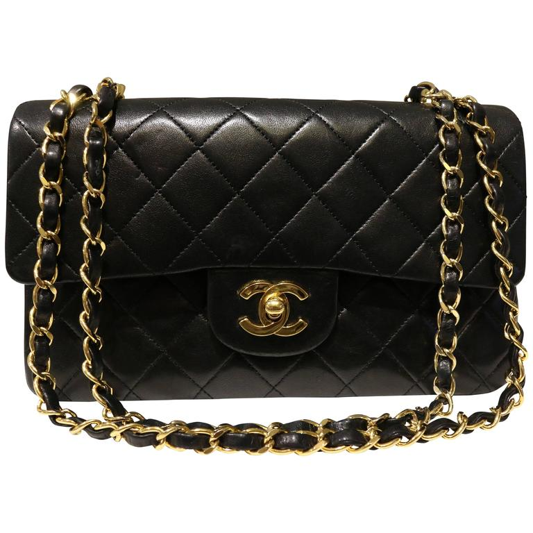 07f308ee0014 Chanel Classic Black Quilted Lambskin Double Flap Shoulder Bag For Sale. - Vintage  80s ...
