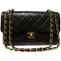 Chanel Classic Black Quilted Lambskin Double Flap Shoulder Bag