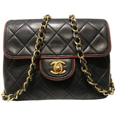 Chanel Black Quilted Lambskin with Burgundy leather piping Shoulder Bag