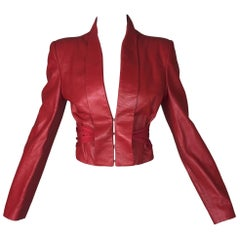 S/S 2002 Alexander McQueen Red Leather Cropped Corset Jacket
